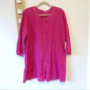 Eileen Fisher Pink Irish Linen Button Up Tunic